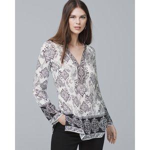 WHBM Printed Tunic Top Shirt Paisley Size 8 M